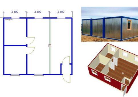 Модульное здание 6,0х7,2м из трех блок-контейнеров b