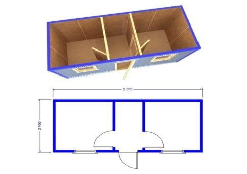 Схема блок-контейнера (бытовки) БК-02 b5
