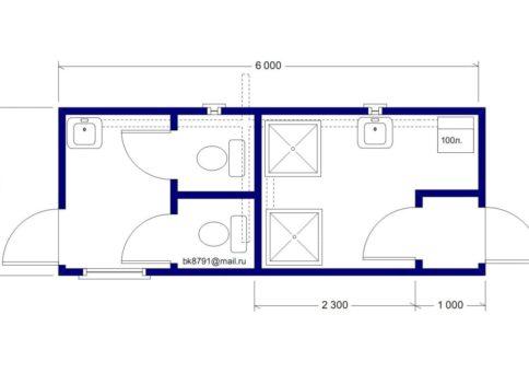 Модуль сантехнический: СТ-01 (туалет душ) b
