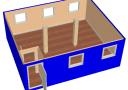 Модульное здание 6,0х7,2м из трех блок-контейнеров scheme1